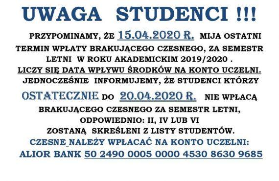15.04.2020 UWAGA STUDENCI